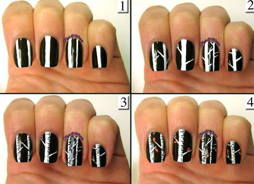 Step By Autumn Fall Nail Art Tutorials