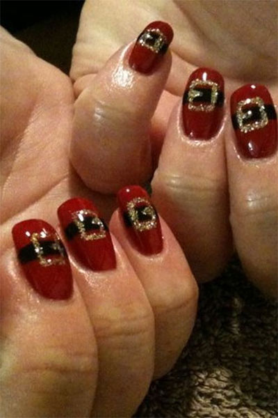 10 Santa Belt Nail Art Designs Ideas Trends Amp Stickers 2015 Xmas Nails Fabulous Nail Art