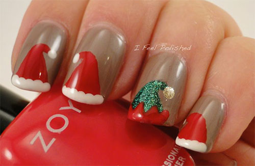 12-Santa-Hat-Nail-Art-Designs-Ideas-Trends- - 12 Santa Hat Nail Art Designs, Ideas, Trends & Stickers 2015 Xmas