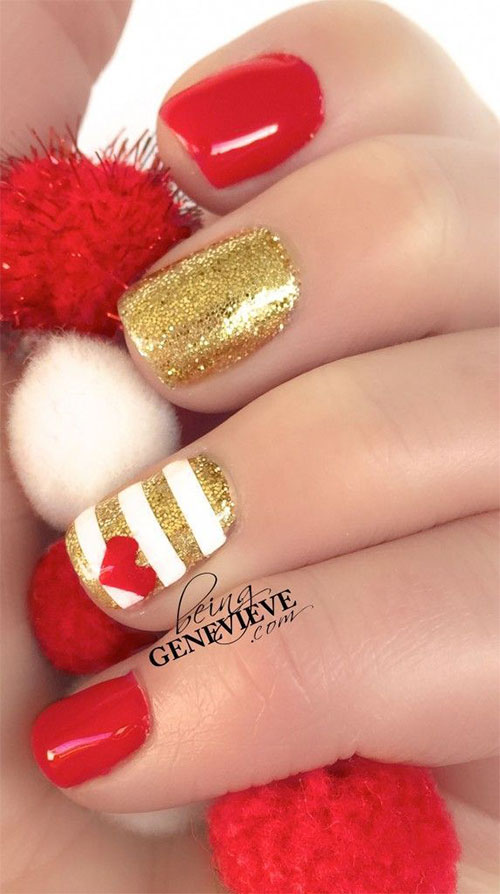 15 Red Green Gold Christmas Nail Art Designs Amp Ideas