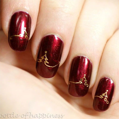 15+ Red / Green / Gold Christmas Nail Art Designs & Ideas