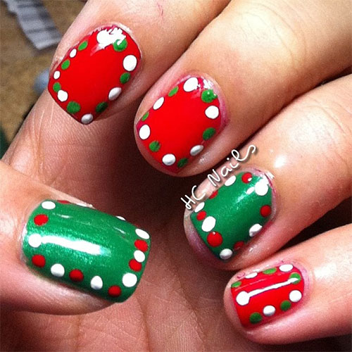 Christmas Nails Red And White: 15+ Red / Green / Gold Christmas Nail Art Designs & Ideas
