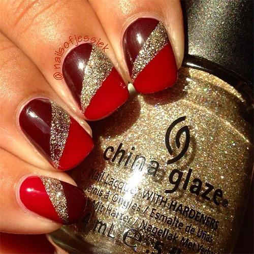 15 Red Green Gold Christmas Nail Art Designs Ideas 2015