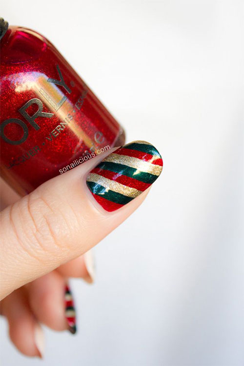 15  red    green    gold christmas nail art designs  u0026 ideas