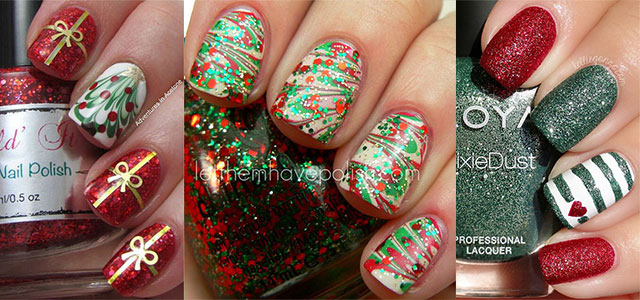 15+ Red / Green / Gold Christmas Nail Art Designs & Ideas 2015 | Xmas Nails  | Fabulous Nail Art Designs - 15+ Red / Green / Gold Christmas Nail Art Designs & Ideas 2015