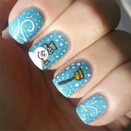 20 Christmas Snow Nail Art Designs & Ideas 2015 #1: 20 Christmas Snow Nail Art Designs Ideas 2015 Xmas Nails 9