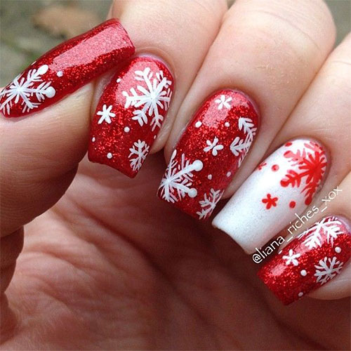 20+ Christmas Snowflake Acrylic Nail Art Designs, Ideas & Stickers ...