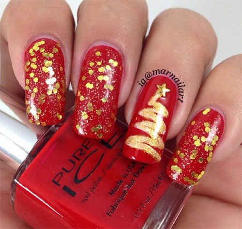 50 Easy Christmas Tree Nail Art Designs, Ideas & Stickers