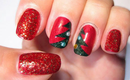 50-Easy-Christmas-Tree-Nail-Art-Designs-Ideas-Stickers-2015-Xmas-Nails-34
