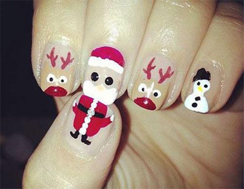 Christmas Santa Face Nail Art