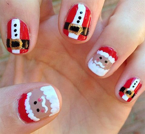Christmas-Santa-Face-Nail-Art-Designs-Ideas-Stickers- - Christmas Santa Face Nail Art Designs, Ideas & Stickers 2015 Xmas