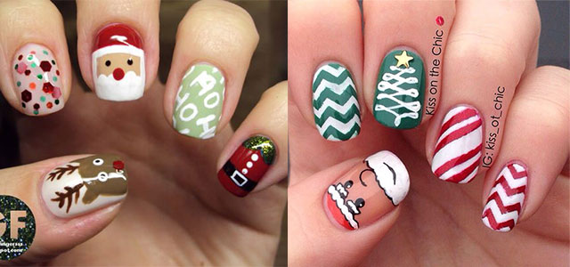Christmas Santa Face Nail Art Designs Ideas Stickers 2015