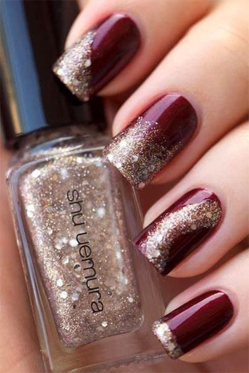 Latest Nails Fashion Of Ombre Nail Designs 2017: 18+ Best Happy New Year Nail Art Designs, Ideas & Stickers