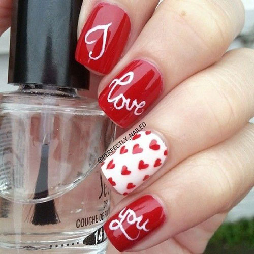 12 Cute I Love You Valentines Day Nail Art Designs Ideas