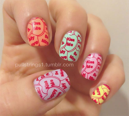 15 Valentines Day Candy Heart Nail Art Designs