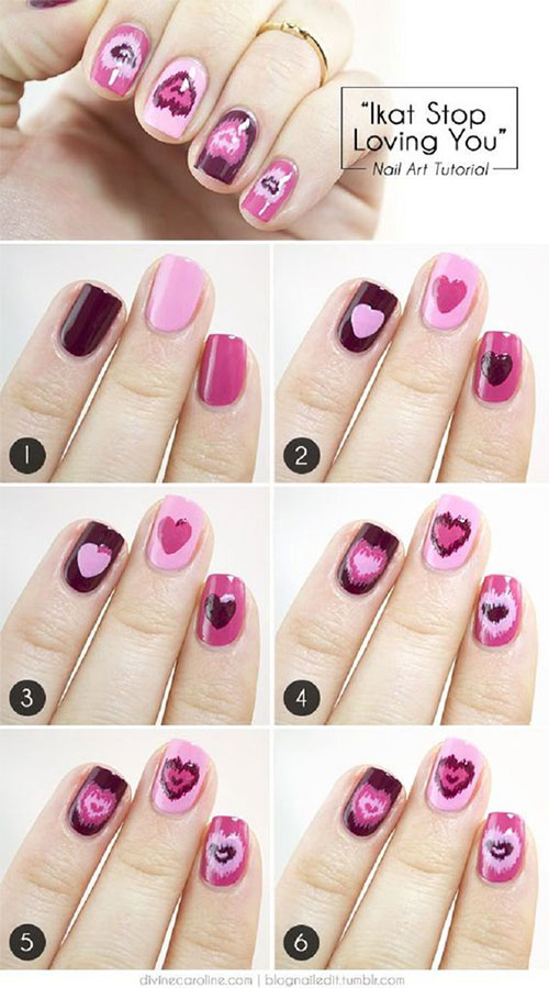15 Step By Valentines Day Nail Art