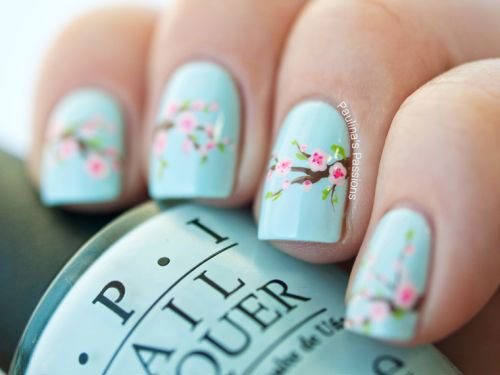 Simple Cherry Blossom Nail Designs