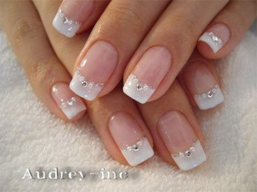 12-Gel-French-Tip-Glitter-Nail-Art-Designs- - 12 Gel French Tip Glitter Nail Art Designs & Ideas 2016 Fabulous