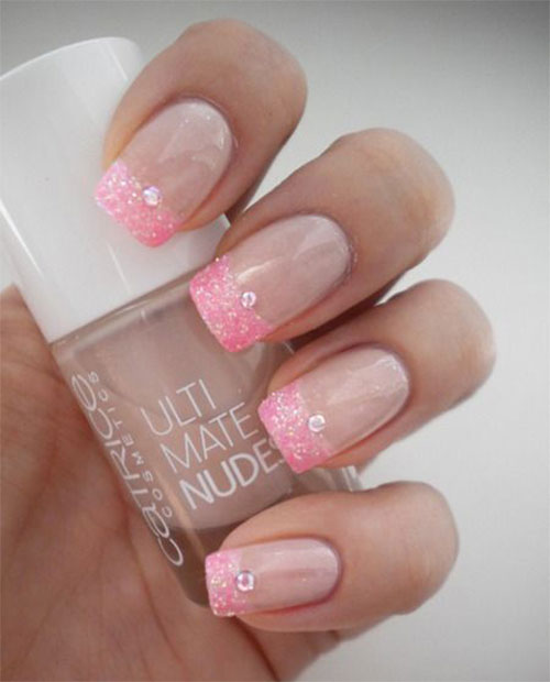 Gel French Tip ... French Tip Nail Designs With Glitter