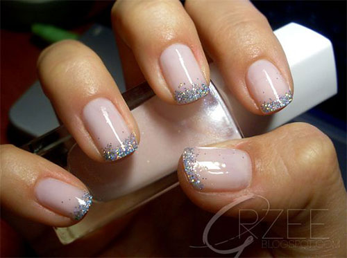 12 Gel French Tip Glitter Nail Art Designs Ideas 2016 Fabulous - French Tip Nail Art Glitter - Best Nails 2018