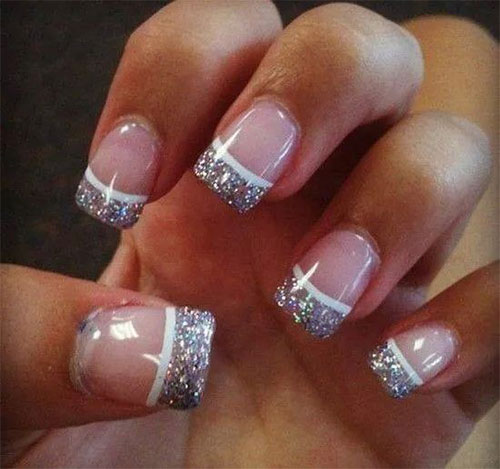 12 Gel French Tip Glitter Nail Art Designs & Ideas 2016