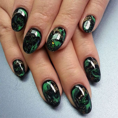 10-Black-Green-Gel-Nail-Art-Designs-Ideas- - 10 Black & Green Gel Nail Art Designs & Ideas 2016 Fabulous Nail