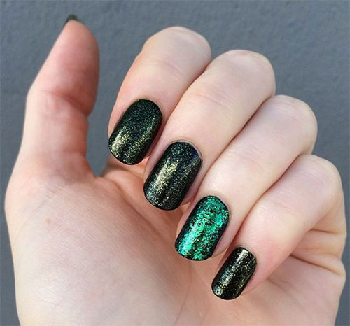 10 Black & Green Gel Nail Art Designs & Ideas 2016