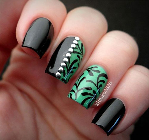 10-Black-Green-Gel-Nail-Art-Designs-Ideas-2016-9