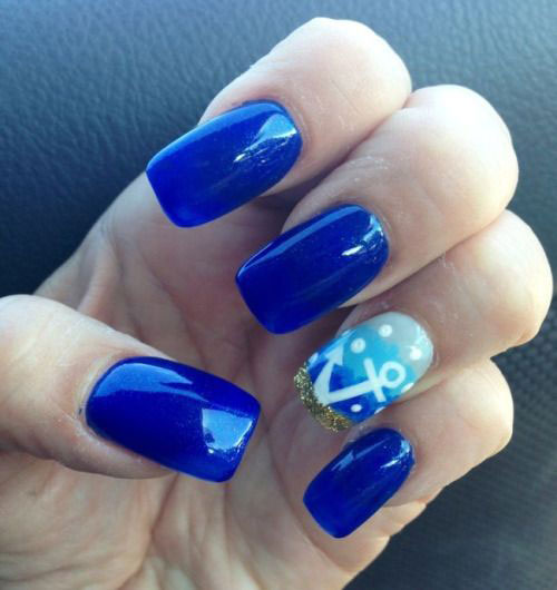 10+ Summer Blue Nail Art Designs & Ideas 2016
