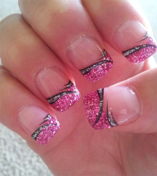 15-Black-Pink-Gel-Nail-Art-Designs-Ideas- - 15+ Black & Pink Gel Nail Art Designs & Ideas 2016 Fabulous Nail