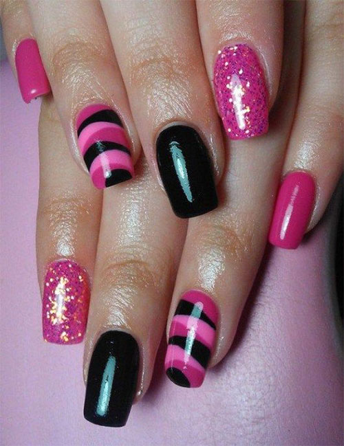 15-Black-Pink-Gel-Nail-Art-Designs-Ideas-2016-3