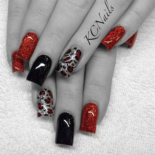Nail Art Design Idea With Red Flowers Motif On White Nails Backgrou