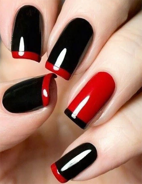 15 Black Red Gel Nail Art Designs Ideas