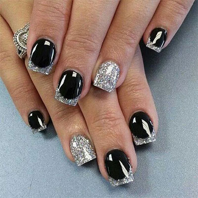 15 Black Silver Gel Nail Art Designs Ideas