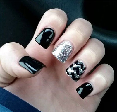 15-Black-Silver-Gel-Nail-Art-Designs-Ideas- - 15+ Black & Silver Gel Nail Art Designs & Ideas 2016 Fabulous