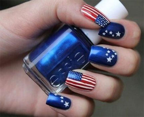 12-4th-of-July-American-Flag-Nail-Art- - 12+ 4th Of July American Flag Nail Art Designs & Ideas 2016