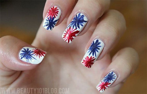 18-Awesome-4th-of-July-Fireworks-Nail-Art- - 18 Awesome 4th Of July Fireworks Nail Art Designs 2016 Fourth Of