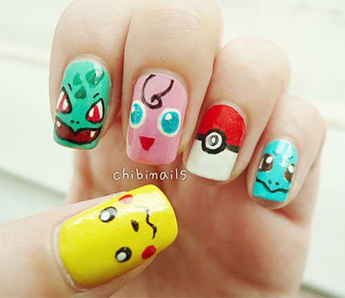 20-Cute-Easy-Pokemon-Go-Themed-Nails-Art-Designs-Stickers-2016-11