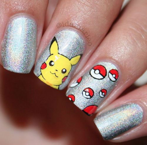 20 Cute Amp Easy Pokemon Go Themed Nails Art Designs Amp Stickers 2016 Fabulous Nail Art Designs