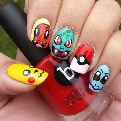 20-Cute-Easy-Pokemon-Go-Themed-Nails-Art-Designs-Stickers-2016-5