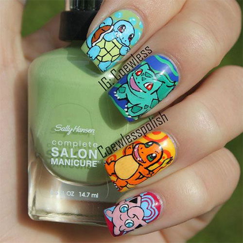 20-Cute-Easy-Pokemon-Go-Themed-Nails-Art-Designs-Stickers-2016-6