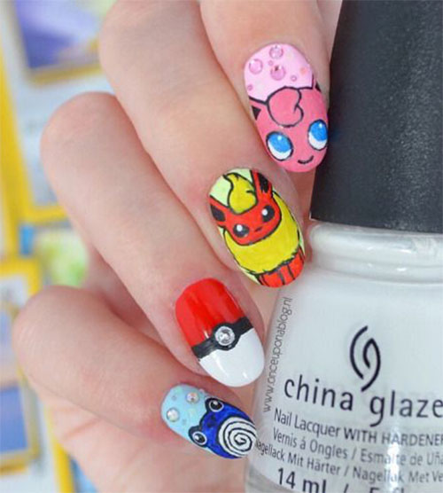 20-Cute-Easy-Pokemon-Go-Themed-Nails-Art- - 20+ Cute & Easy Pokemon Go Themed Nails Art Designs & Stickers 2016