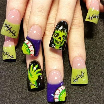 12-Frankenstein-Halloween-Nails-Art-Designs-2016-1