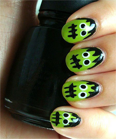 12-Frankenstein-Halloween-Nails-Art-Designs-2016-10