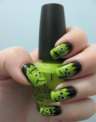 12-Frankenstein-Halloween-Nails-Art-Designs-2016-11