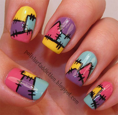 12-Frankenstein-Halloween-Nails-Art-Designs-2016-13