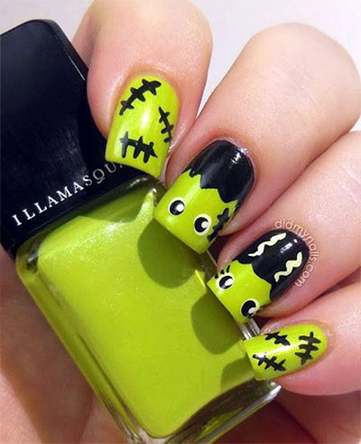 12-Frankenstein-Halloween-Nails-Art-Designs-2016-3