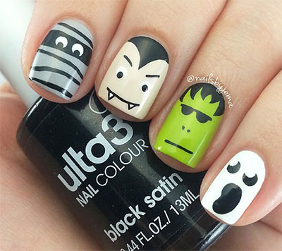 12-Frankenstein-Halloween-Nails-Art-Designs-2016-4 - 12+ Frankenstein Halloween Nails Art Designs 2016 Fabulous Nail