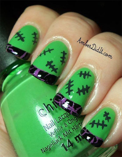 12-Frankenstein-Halloween-Nails-Art-Designs-2016-5