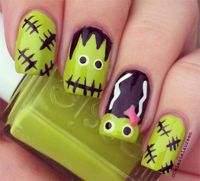 12-Frankenstein-Halloween-Nails-Art-Designs-2016-6
